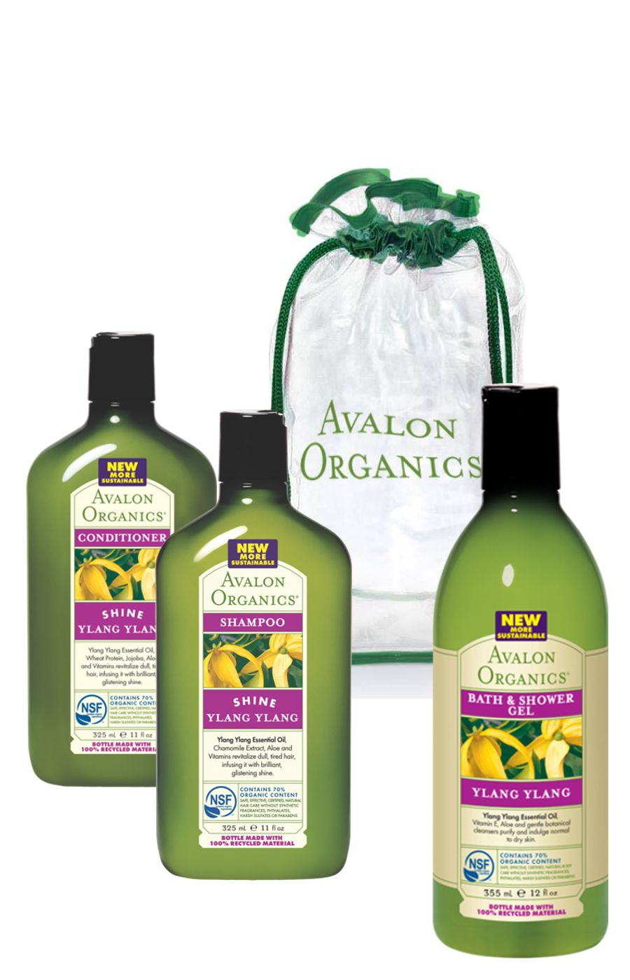 Avalon Organics YLANG YLANG Shine Shampoo & Conditioner & YLANG YLANG Bath & Shower Gel Шампунь и кондиционер с маслом иланг-иланг + Гель для ванны и душа с иланг-иланг (325 ml + 325 ml + 355 ml) AV60217