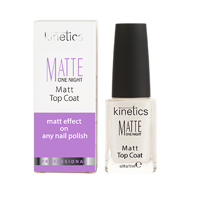 Kinetics Покрытие верхнее матовое / Matte One Night Matt Top Coat (15 ml) KMAT